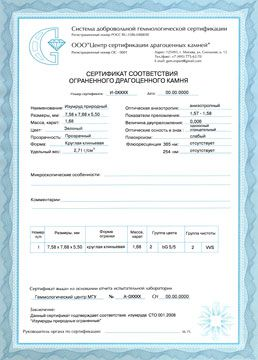 Сертификат соответствия на изумруд